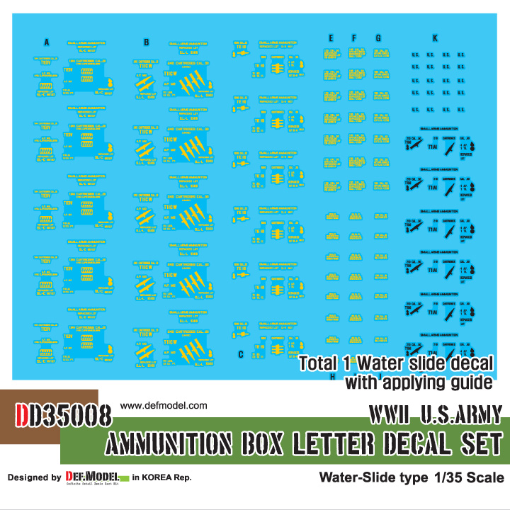 1/35 WWII US army Ammunition letter decal set