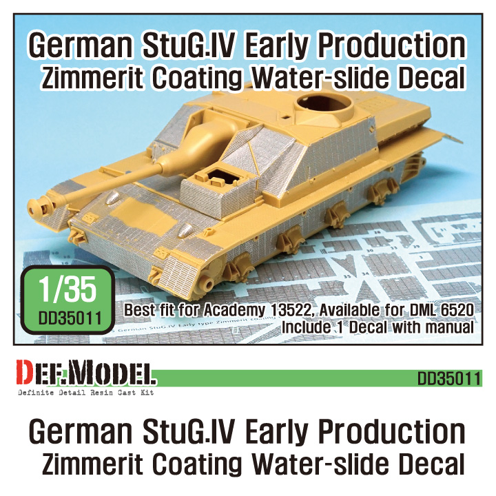 1/35 StuG.IV Zimmerit Decal set (for Academy)