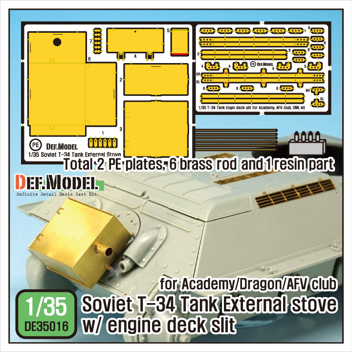 1/35 Soviet T-34 External stove w/ Engine deck slit set (for Aca