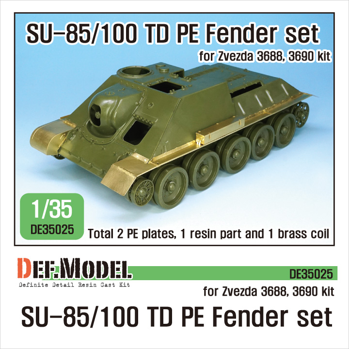 1/35 Su-85/100 TD PE Fender set (for Zvezda 3688, 3690)