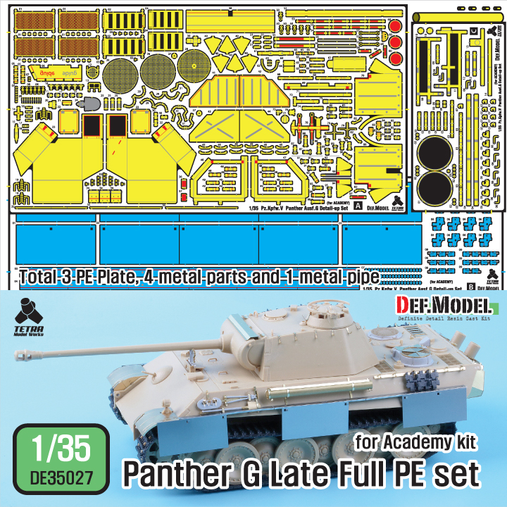 1/35 WWII German Panther G late Full PE set (for Academy kit)