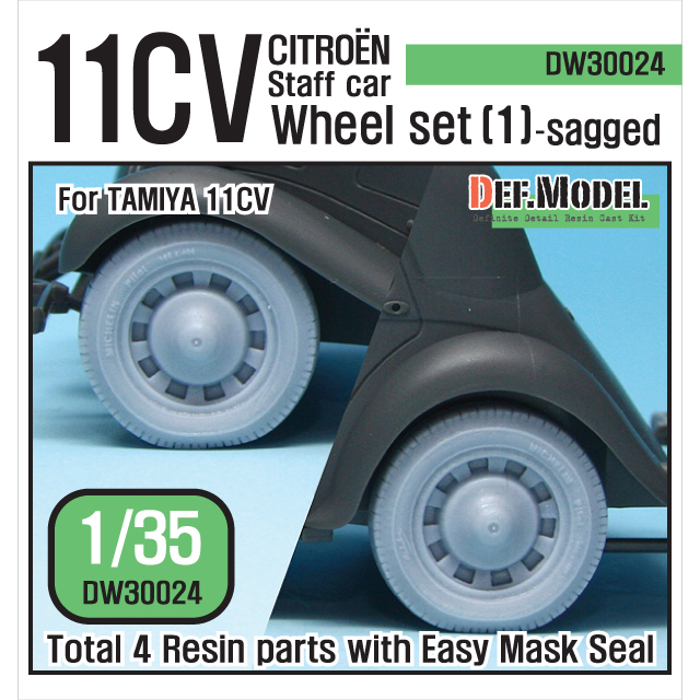 1/35 11CV Staff car Sagged Wheel set (1) (for Tamiya)