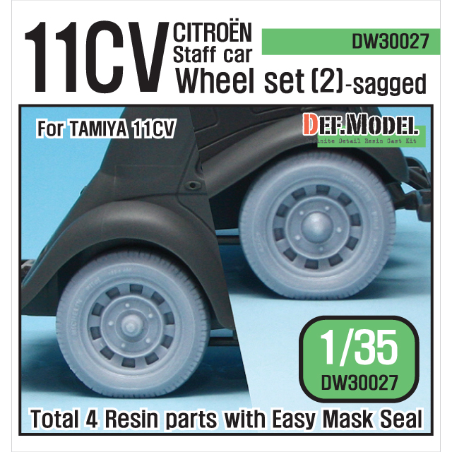 1/35 11CV Staff car Sagged Wheel set (2) (for Tamiya)