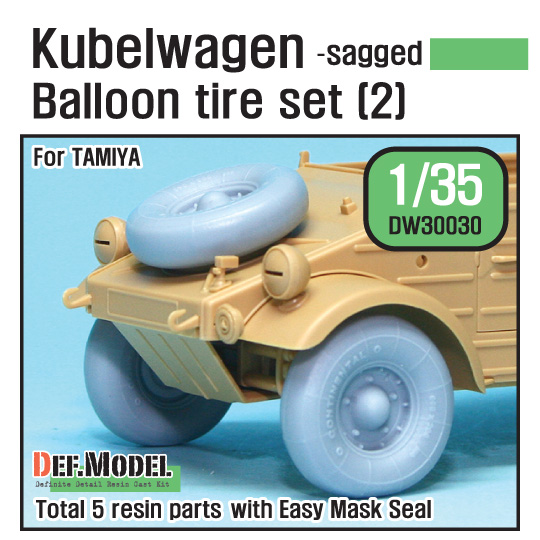 1/35 WWII Kubelwagen Balloon Tire set (2)- sagged (for Tamiya)