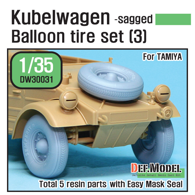 1/35 WWII Kubelwagen Balloon Tire set (3)- sagged (for Tamiya)