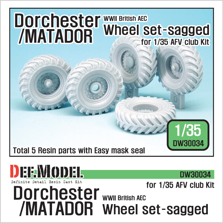 1/35 WW2 British AEC Dorchester / Matador Sagged Wheel set (for