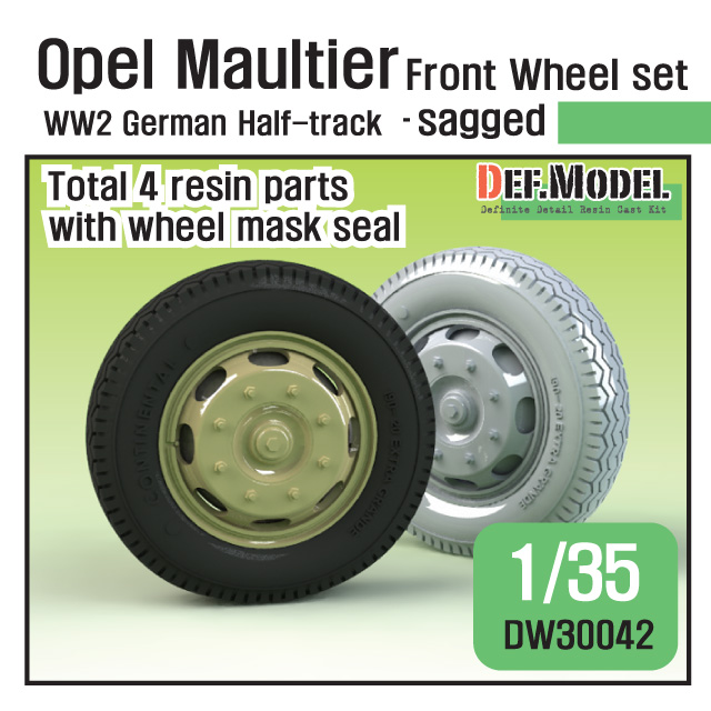 1/35 German Opel Maultier Half-Track Sagged Front Wheel set