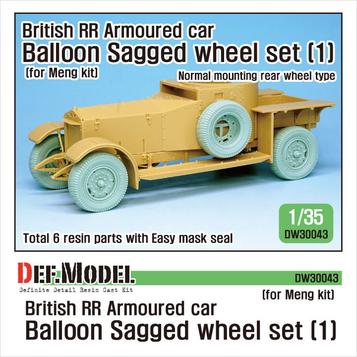 1/35 British RR Armoured car balloon Sagged Wheel set- 1 for Men