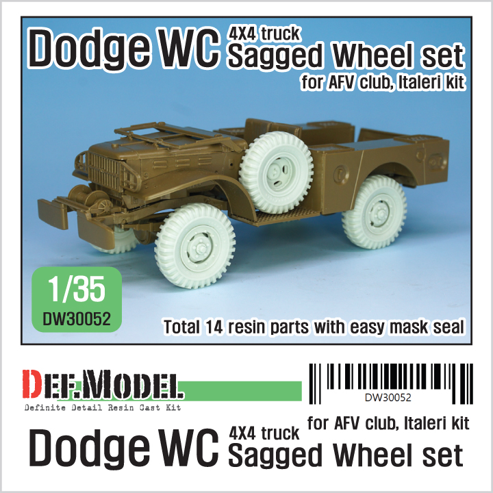1/35 US Dodge WC 4X4 truck Sagged Wheel set (for AFVclub, Italer