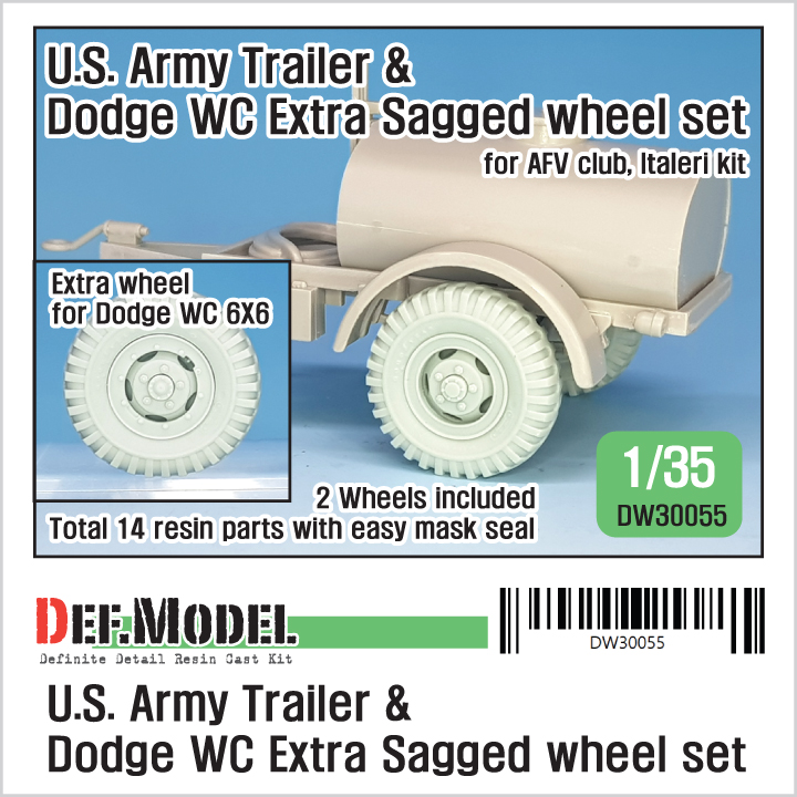 1/35 US Army Trailer & Dodge WC Extra Sagged Wheel set (for AFVc
