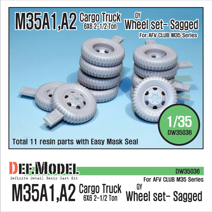 1/35 U.S M35 Cargo truck GY sagged wheel set (for ACADEMY,AFV cl