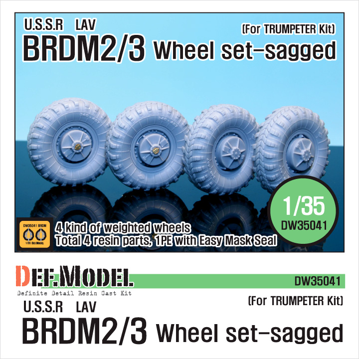 1/35 BRDM-2/3 LAV Sagged Wheel set (for Trumpeter)