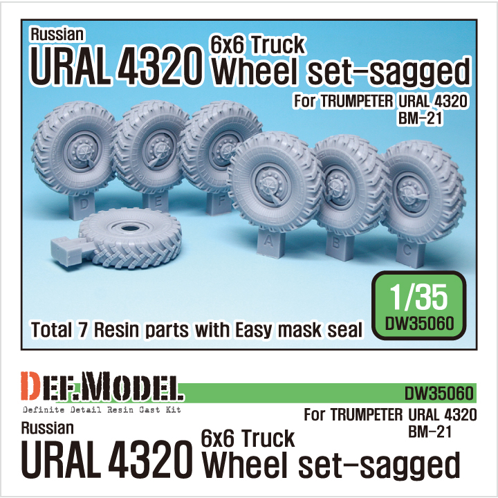 1/35 Russian URAL 4320 Truck/BM21 Sagged Wheel set (for Trumpete