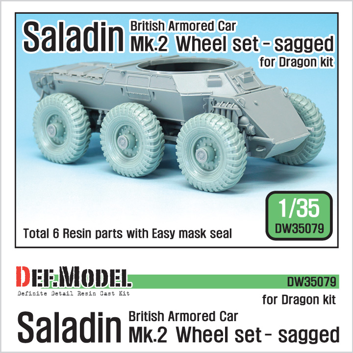 1/35 British Saladin MK.II Sagged Wheel set (for Dragon)