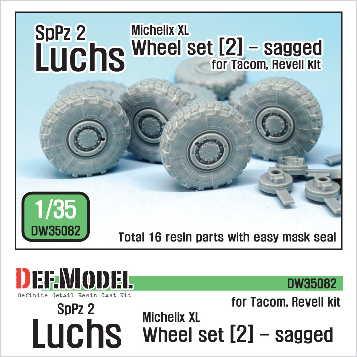 1/35 SpPz 2 Luchs Sagged Wheel set (2)(for Takom/Revell)