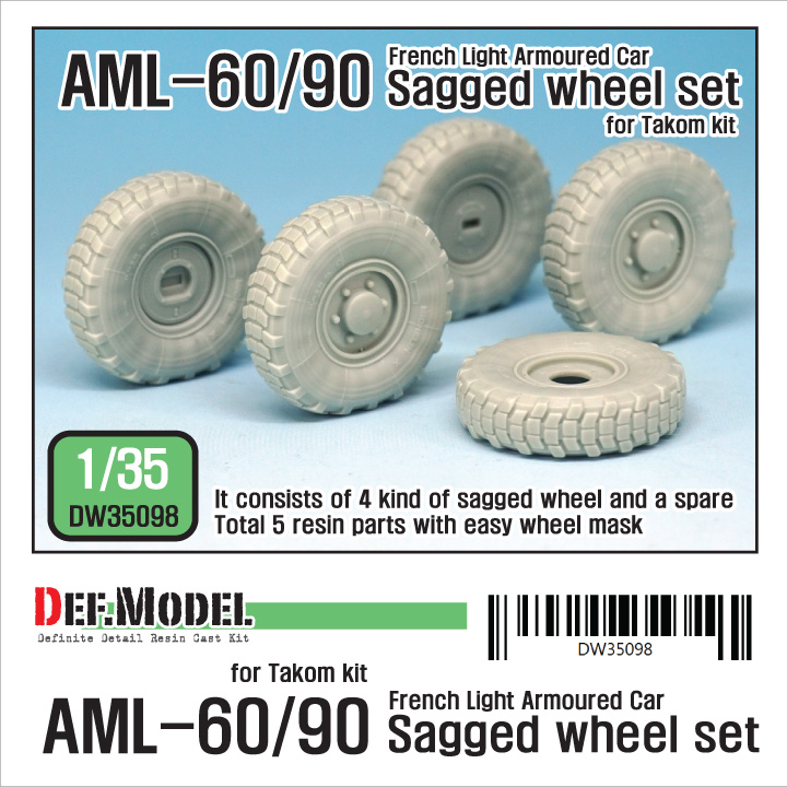 1/35 AML-60/90 Sagged Wheel set (for Takom)