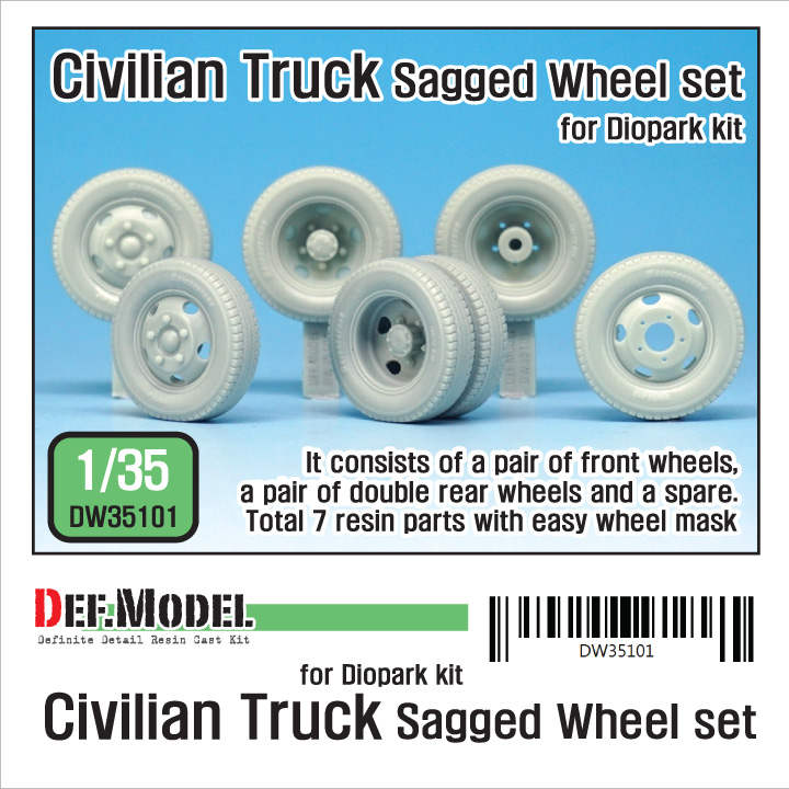 1/35 Japanese Civilian truck Sagged Wheel set (for Diopark)